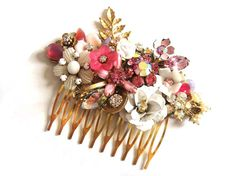 Bridal wedding hair comb - shabby chic hot pink and white vintage flowers and rhinestones - collage - bridesmaids gift. €93,00, via Etsy.
