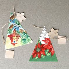 You can make vintage Christmas card ornaments from vintage Christmas cards. The ornaments are fun to put together and are a great project for kids. Christmas Craft Fair, Handmade Christmas Tree, Christmas Crafts For Gifts, Christmas Ornaments To Make, Vintage Christmas Cards, Christmas Items, Christmas Projects, All Things Christmas, Christmas Decorations