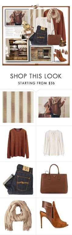 """""""Brown for Monday"""" by terry-tlc ❤ liked on Polyvore featuring WithChic, Nudie Jeans Co., Prada, Echo Design, Sergio Rossi and Devon Leigh"""