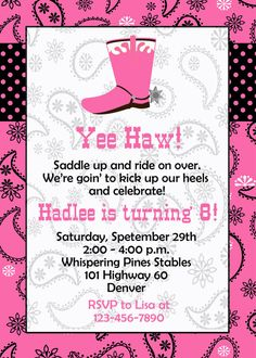Horseback riding birthday party invitation  -  cowgirl birthday party - western party  -  horses -- You print or I print