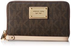 Michael Michael Kors Womens Mk Jet Set Signature Leather Clutch