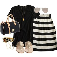 """black, white, gold"" by shopwithm on Polyvore"