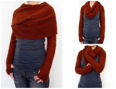 Look Great This Fall! Knit This Long-Sleeve Wrap Around Sweater Scarf – It's a Super-Shrug! Look Great This Fall! Knit This Long-Sleeve Wrap Around Sweater Scarf – It's a Super-Shrug! Get the pattern via Camexia Designs … Shrug Knitting Pattern, Knit Wrap Pattern, Knitting Machine Patterns, Knit Shrug, Sweater Knitting Patterns, Scarf Patterns, Knit Cowl, Canvas Patterns, Knit Or Crochet