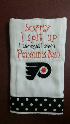 Philadelphia Flyers...Sorry I spit up... by Mimi4Me on Etsy