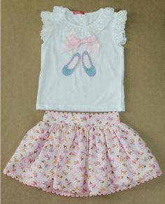 VR210-Conjunto falda camiseta bailarinas niña Nini
