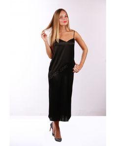 Black шелковое платье-комбинация