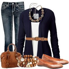 """""""Navy & Cognac"""" by chells-style on Polyvore"""