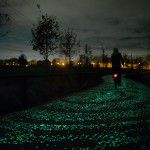 A Solar-Powered Glow-in-the-dark Bike Path by 'Studio Roosegaarde' Inspired by Van Gogh