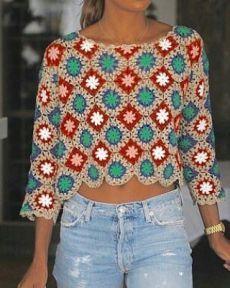 Pull Crochet, Gilet Crochet, Crochet Jumper, Crochet Wool, Crochet Cardigan, Granny Square Crochet Pattern, Crochet Stitches Patterns, Crochet Clothes, Knitting