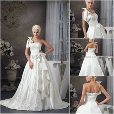 Aliexpress.com : Buy New Arrival A line One Shoulder Sweep Train Satin with Appliques and Bow Wedding Dresses from Reliable bow wedding dress suppliers on HONEYSTORE CO., LIMITED $547.20