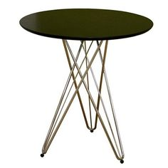 Gennie Black Round Side Table with Wire Base | DCG Stores