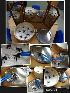 "Fine motor fun with spiders and shaving foam - from Rachel ("",) Eyfs Activities, Nursery Activities, Halloween Activities, Autumn Activities, Toddler Activities, Halloween Fun, Preschool Ideas, Reggio, The Very Busy Spider"