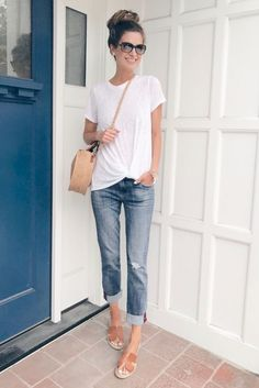 36 Summer Fashion Chic Boyfriend Jeans,Style 36 Sommermode Chic Boyfriend Jeans # # Like: More from my. Late Summer Outfits, Summer Vacation Outfits, Casual Summer Outfits For Women, Spring Outfits, Casual Jeans Outfit Summer, Vacation Fashion, White Tshirt Outfit Summer, Casual Summer Clothes, White Tshirt And Jeans