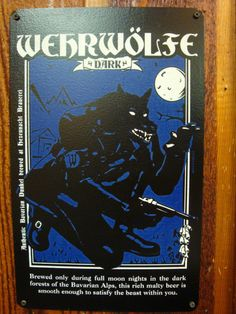 Arkham Bazaar - Wehrwulfe Dark vintage style metal sign, $22.00 (http://arkhambazaar.com/oddities/wehrwulfe-dark-vintage-style-metal-sign/)