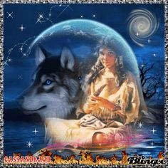 Indian wolves Blingee | Wolf And Native American Lady