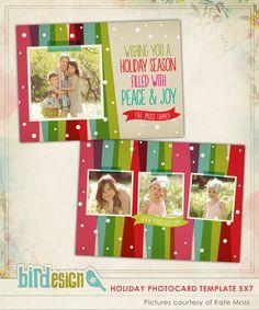 PSD Christmas Card Photoshop template - Christmas Rainbow- E552. $8.00, via Etsy.