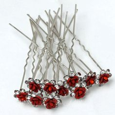 10x Red Rose Wedding Curly Lady/Girl Tiara Hairpin Clip    Maybe for the girls <3