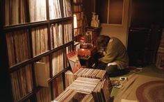 Jim O'Rourke and his rather decent record collection Vinyl Record Storage, Lp Storage, Jim O'rourke, Vinyl Room, Vinyl Collectors, Audio Room, Vinyl Junkies, Space Place, Record Collection