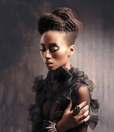 Structured updo in natural hair
