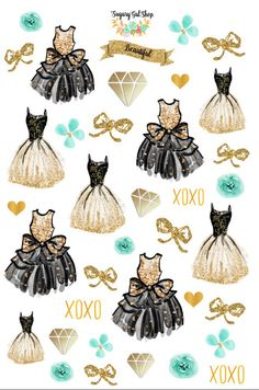 Glam Dress Teal Planner Sticker Set 3 by SugaryGaLShop on Etsy