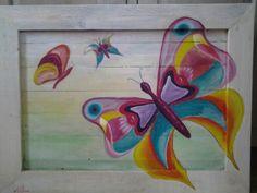 Vlinder op hout Butterflies, Painting, Wood, Art, Painting Art, Butterfly, Paintings, Painted Canvas, Drawings