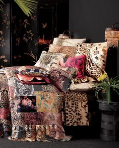 Mix & Match Patterns w/ Animal Print and Oriental Style Screen/Moroccan Beaded Lamps. (East)