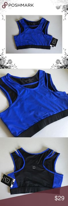 {Central Park} Quick Dry Layered Sports Bra ✨Manufacturer Color is Black/Bright Blue.   ✨Sports Bra, Bra Top. Pullover. Colorblock. Activewear. Medium to high impact.   ✨88% Polyester/12% Spandex. Fabric provides stretch.   ✨Bundle for discounts! Thank you for shopping my closet!   Bin 70 Central Park Intimates & Sleepwear Bras