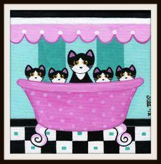 Five Tuxedo CATS in Pink BATHTUB Folk Art PRINT from Original Painting by Jill