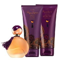 Far Away Exotic 3-Piece Fragrance Layering Collection - $17  Enjoy the exotic richness of chai spice, saffron rose and ambered musk. Collection includes: Eau de Parfum Spray Oriental/spicy. 1.7 fl. oz. Shower Gel Cleanse and moisturize with richly scented lather. 6.7 fl. oz. Body Lotion Wrap your skin in lush moisture. 6.7 fl. oz.
