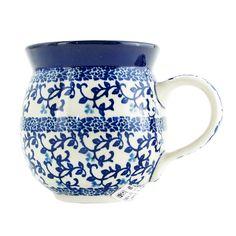 Polish Pottery 11 oz Handmade Bubble Mug Traditional Pattern 070-Dark Blue Vine