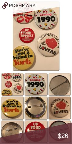 Lot if 5 assorted Vintage Pins Lot if 5 assorted Vintage Pins. 1980s /90s assortment. No cracking or peeling Vintage Jewelry Brooches
