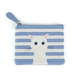 Monedero de tela rayas azul Gato