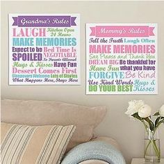 Mom or Grandma's Rules Personalized Canvas
