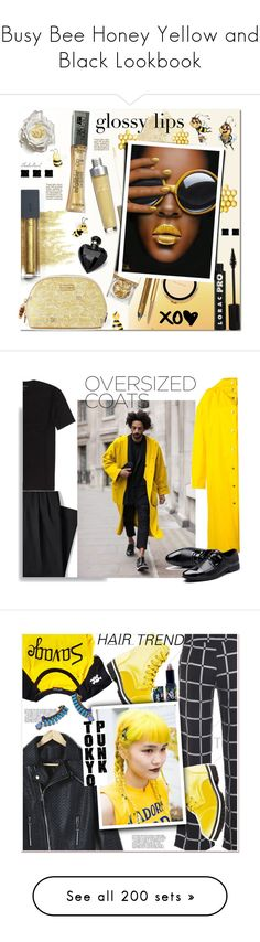 """""""Busy Bee Honey Yellow and Black Lookbook"""" by yours-styling-best-friend ❤ liked on Polyvore featuring yellow, black, hot, bee, bumblebee, beauty, Bite, NYX, Sue Devitt and Burberry"""