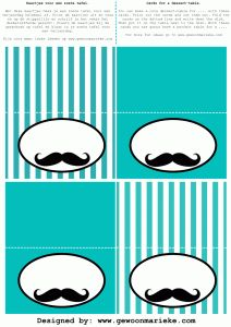 Mister Moustache Birthday-tablecards part of Mister Moustache Birthday-Printables