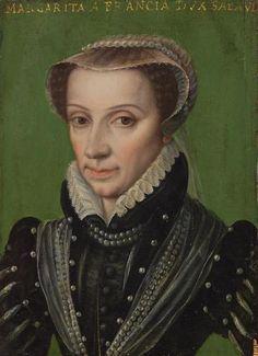 Marguerite de France, Duchess of Berry,1559- En dépit de nombreuses propositions qui lui furent faites, ce n'est qu'à l'âge de 36 ans que Marguerite fut mariée. Du fait des soubresauts de la politique de son père François 1°, plusieurs projets d'alliance avaient avortés. Très fière de son sang royal, elle ne voulait épouser qu'un roi. Le projet avec Emmanuel-Philibert de Savoie est l'une des clauses du traité de Cateau-Cambrésis