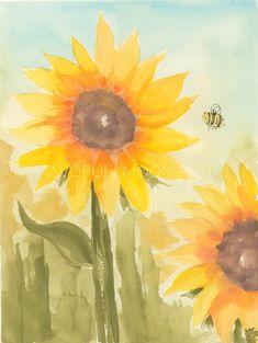 Original of Sunflower and Bee