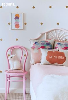 pink chair as nightstand #decor #bedroom