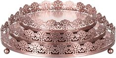 Amazon.com | Sophia 3-Piece Rose Gold Decorative Tray Set, Round Metal Ornate Accent Vanity Food Display Serving Platter Holder Plates: Serving Trays