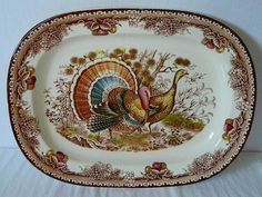 ANTIQUE TRANSFERWARE THANKSGIVING TURKEY PLATTER COLORFUL LARGE UNUSED