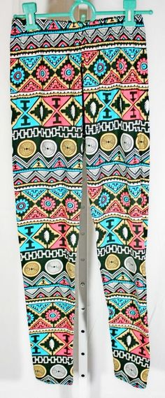 29ceae41ab Aztec Pink Yellow Black Teal Blue TC OS One Size Tall Curvy Butter Soft  Leggings
