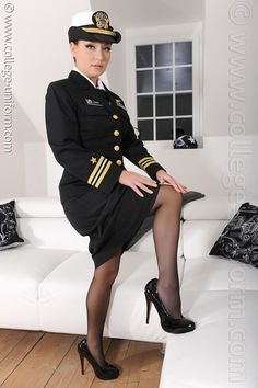 Commander Carla Brown reported to the U.S Navy's latest vessel. Carla takes shore leave Police Uniforms, Girls Uniforms, College Uniform, Carla Brown, Lady In Waiting, Black Pantyhose, Nylons, Military Women, Porno
