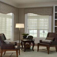 Illusion Shades by Budget Blinds. Lets the light in yet gives privacy.