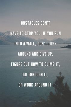 Obstacles don't have to stop you. If you run into a wall don't turn around and give up. Figure out how to climb it, go through it, dig it or walk around it.