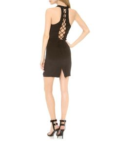 Back Cutout Bodycon Sleeveless Black Dress With Side Vent