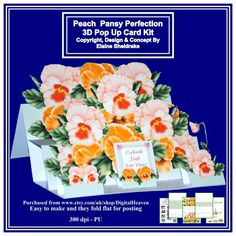 Peach Pansy Perfection   3D Pop Up Easel Card Kit by DigitalHeaven