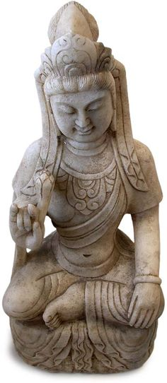 """Antique Chinese Carved Marble """"Quan Yin"""" Buddha Statue, L 19th century. Nice detail."""