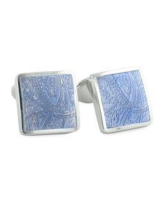 Sterling silver. Square fronts. Enamel insets with textured paisley. Bullet backs. Made in USA.