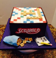 scrabble cake - chocolate cake with gumpaste and fondant accents....thanks for looking