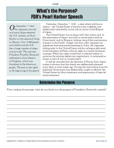 Your student will explore the purpose of President Franklin Roosevelt's speech on the day after the attack on Pearl Harbor. US history. Printables. Worksheets. Social studies.